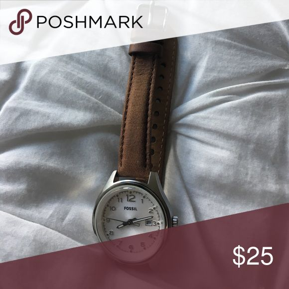 Brown Leather Fossil Watch Battery is dead but super cute watch! Fossil Accessories Watches