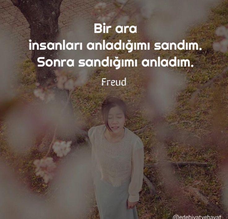 Bir ara insanları anladığımı sandım. Sonra sandığımı anladım Freud Bu sözleri çok seviyorum