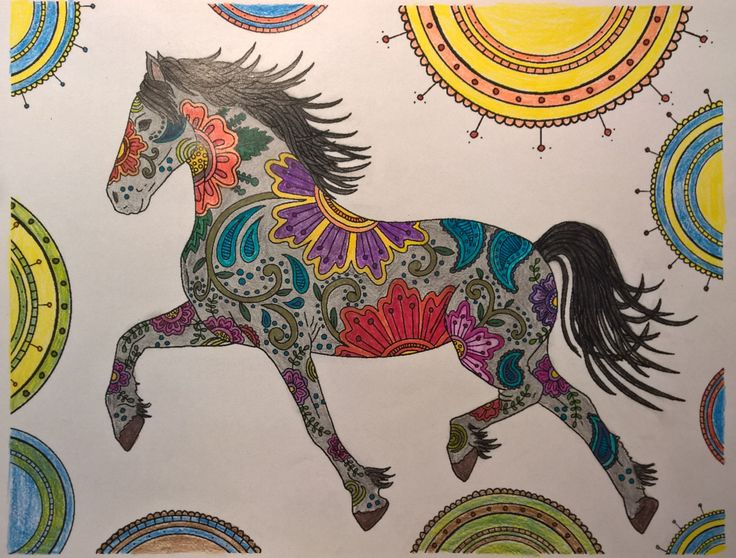 Horse and the flowers  #colouringbooks #colouringforadults #adultcolouring #adultcoloring  #stressfree #relaxing #blending