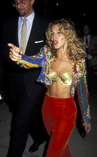 Embellished blazer over exposed brazier, red  h o t pants. Even before #SATC #sarahjessicaparker was a fashion innovator.