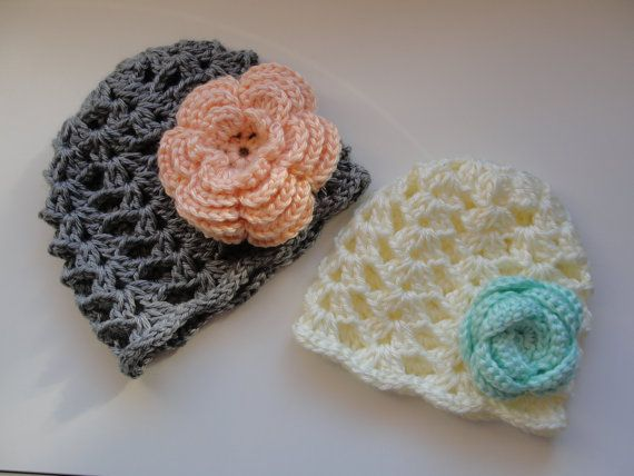 Sweet Shells Crochet Baby Beanie w/ Flower by (Hand)MadeUp Crochet on Etsy