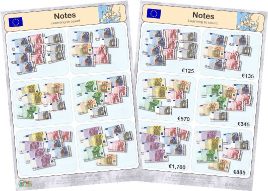 Learn to recognise and count EURO banknotes & coins - counting banknotes 3