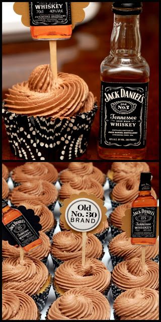 Jack Daniel's cupcakes for grown-ups. I LOVE the recipe for the vanilla cake! The whiskey taste in the frosting is very faint, so I poked some holes in the cakes with a toothpick and used an eye-dropper to soak in a little more Jack Daniel's. Yum! These were a big hit!