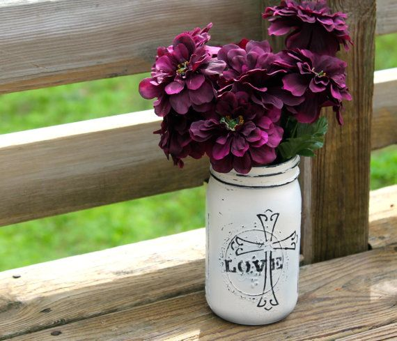 Antique white painted distressed and stenciled by SignsbyLaur