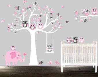 Cool Wandtattoo Kinder Vinyl Eule Wandtattoo rosa und grau Baumschule Baum Elefanten V gel