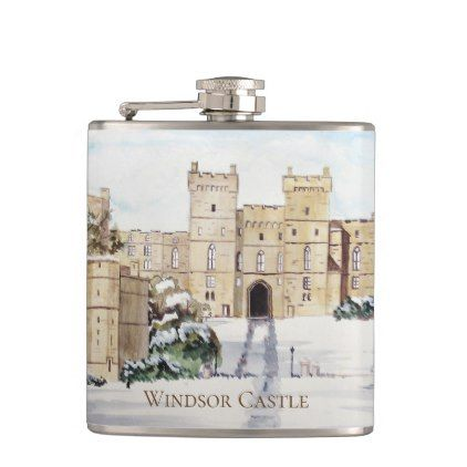 Winter at Windsor Castle by Farida Greenfield Hip Flask - family gifts love personalize gift ideas diy