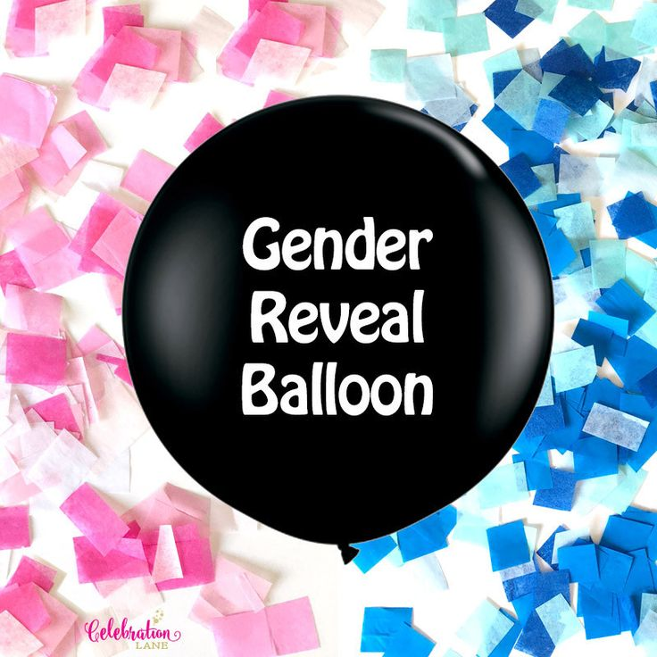 """Gender Reveal 36"""" Balloon - Pink or Blue Confetti"""