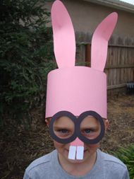 This is a really easy and cute bunny hat that the kids will love. Cut a rectangle that will fit around their heads, some bunny ears, glasses, and little teeth and they're good to go. Photo courtesy of Busy Bee Kids Crafts.