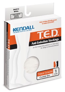 ted anti-embolism stockings: thigh length, closed toe, large, regular, white