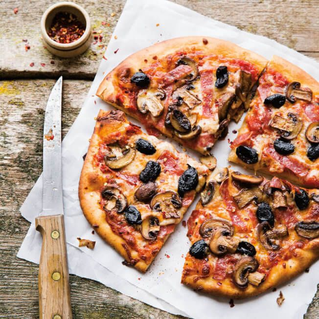 Mushroom, Salami and Black Olive Pizza