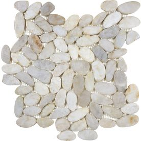 5-Pack 13-1/4-in x 13-1/4-in River Rock Cream Flat Polished Pebble Mosaic Wall Tile (Actuals 13-1/4-in x 13-1/4-in)