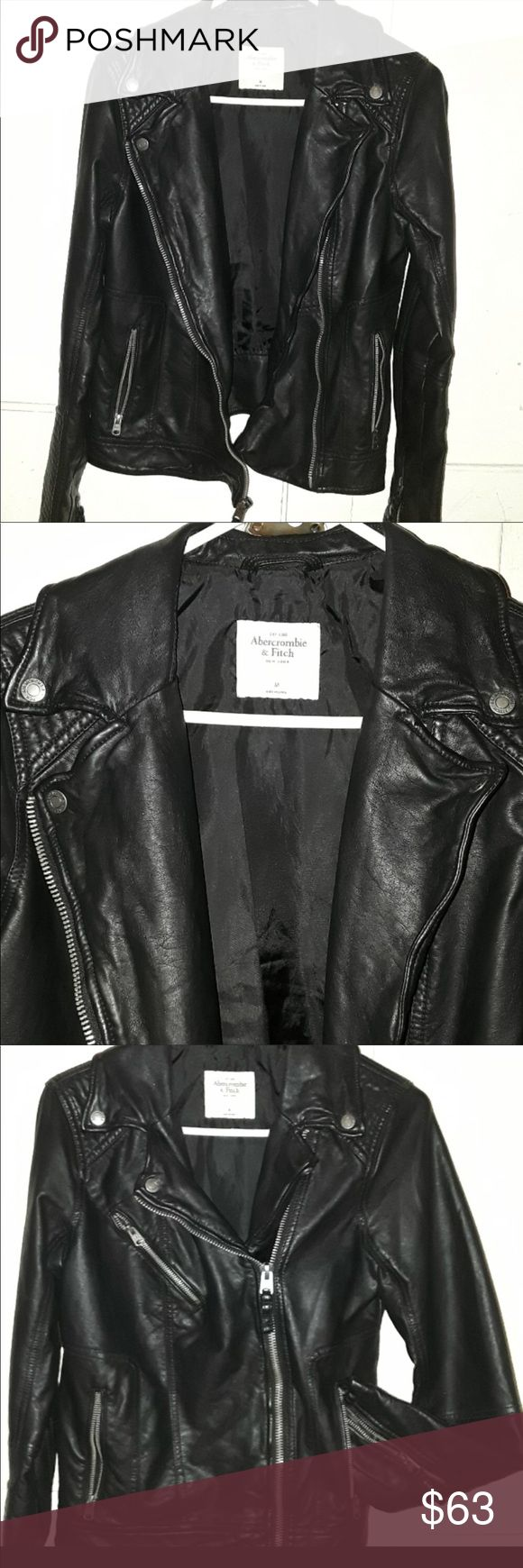 ABERCROMBIE AND FITCH BLACK LEATHER JACKET Black vegan leather. Perfect condition. All zippers work. Size small! You can dress down or up with anything! Abercrombie & Fitch Jackets & Coats Jean Jackets