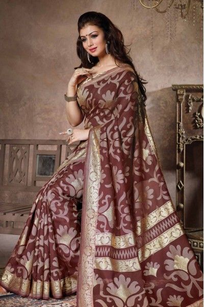 Bollywood Ayesha Takia Bhagalpuri Silk Designer Saree In Maroon Colour