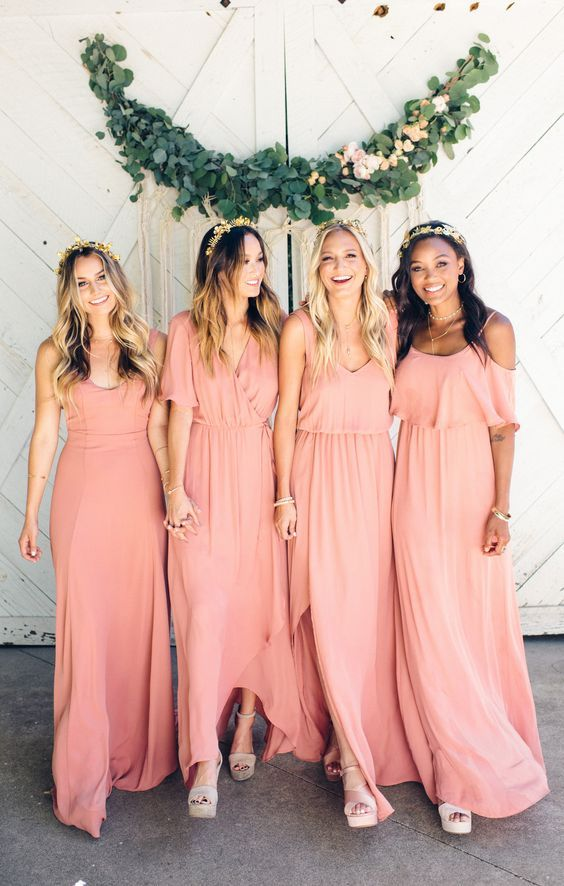 » Charming Sheath Round Neck Open Back Blush Pink Long Bridesmaid Dresses Under 100 BD0928002