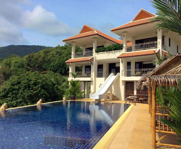 Pool villa with a water slide sea views homeaway for Villas with pools