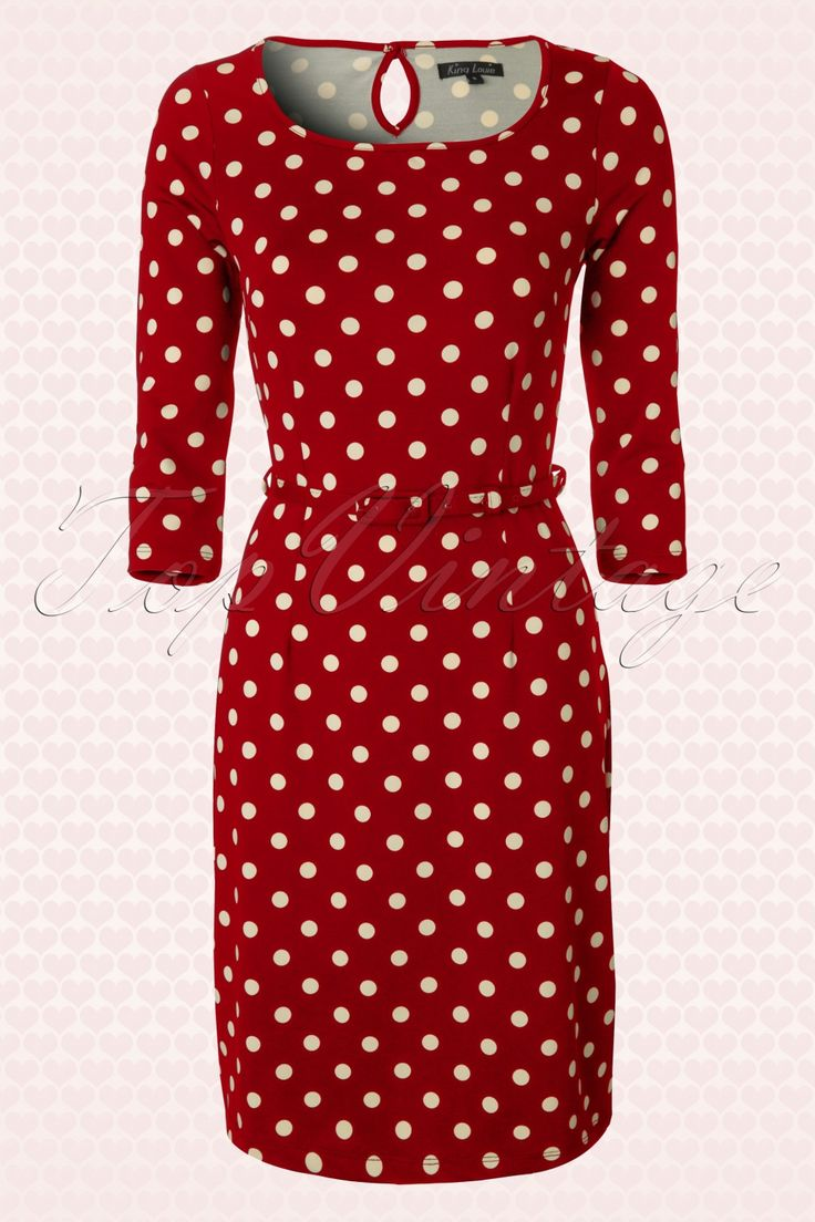 King Louie - 50s Tulip Dress in Red and Cream Polka