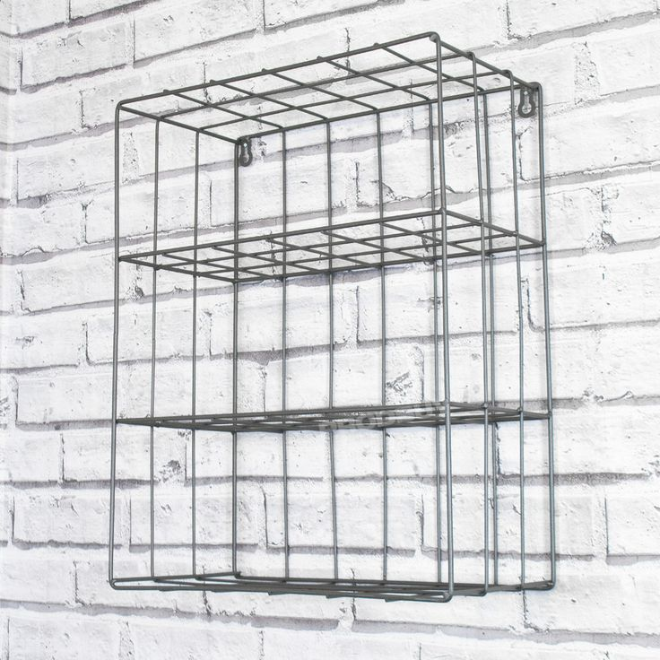 Three tier wire storage unit, made from metal with a dark grey finish. Designed to be wall mounted it features three internal shelves for storage. Suitable for home or office use, designed to be wall mounted fixtures and fittings not included.   eBay!