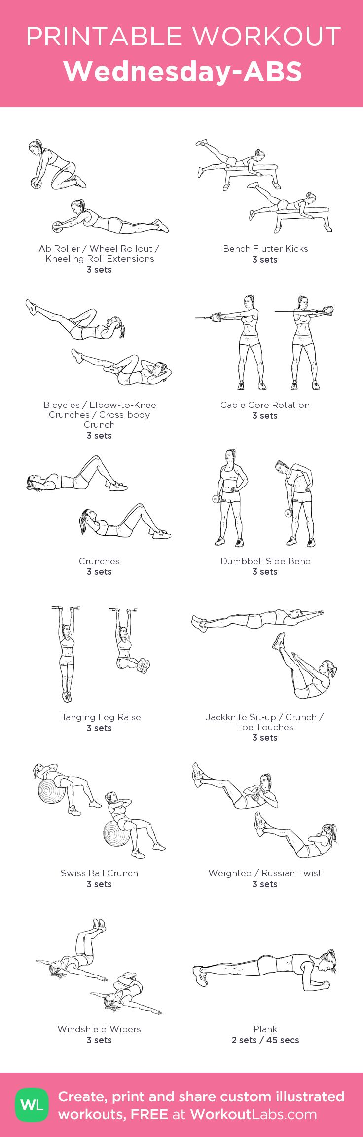 Wednesday-ABS: my visual workout created at WorkoutLabs.com • Click through to customize and download as a FREE PDF! #customworkout