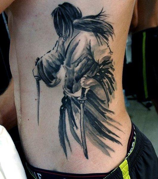 Pretty Grey Shaded Samurai Tattoo Males Torso