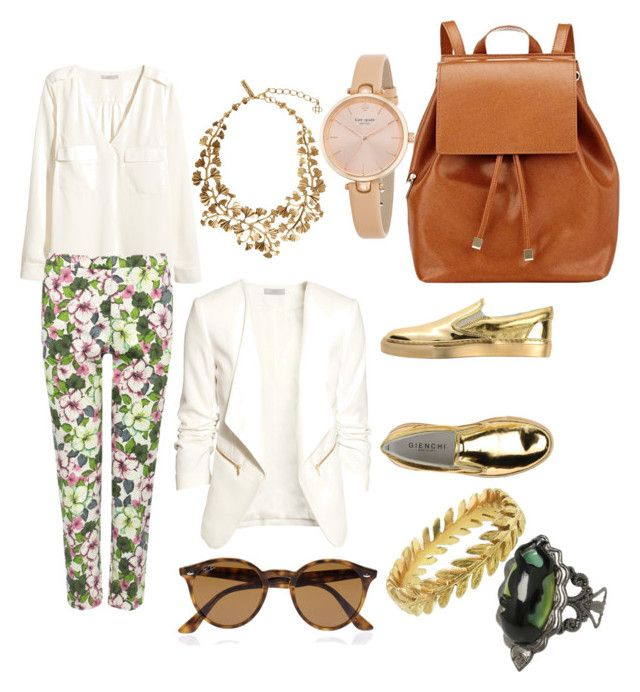 Last day of Summer by juliannacortes on Polyvore featuring polyvore, fashion, style, H&M, M&Co, GIENCHI, Barneys New York, Kate Spade, Disney, Oscar de la Renta and Ray-Ban
