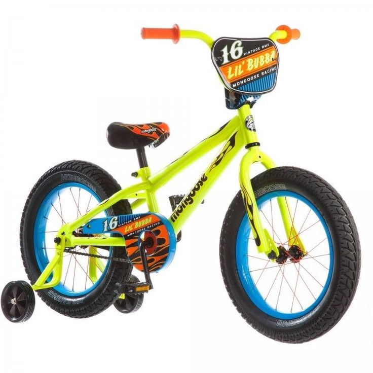 16 Inch Boys Bike Fat Tire Neon Yellow Steel Frame Coaster Brake Training Wheels #Mongoose
