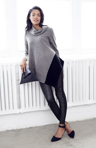 Leather Front Leggings w/ colorblock sweater | Nordstrom