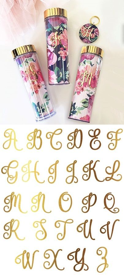 Event Blossom Gold Foil Monogram Floral Tumbler with Lid & Straw | Personalized Gifts and Party Favors