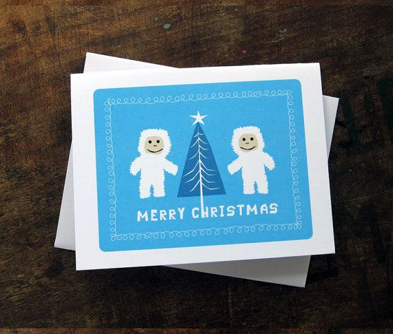 Merry Christmas Yeti Holiday Christmas Card by thebeautifulproject, $4.00