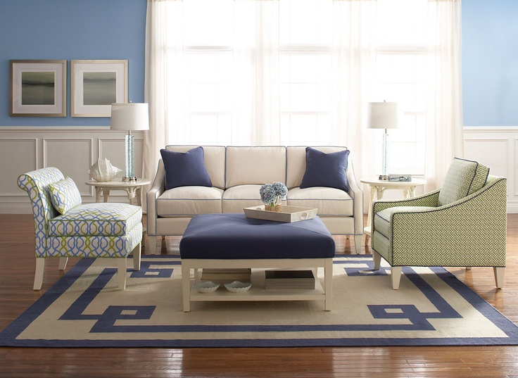 This is my Ocean Oasis vignette with the new Jermain Sofa, my armless chatfeild chair and the Jermain chair in a fun green geometric with a navy blue contrast welt!   The rug is also my design for Tiger Rug...so excited for my new rug collection to start to get out into the market place!!