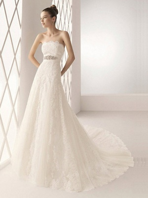 Modest A-line Strapless Cathedral Train Lace White Wedding Dress