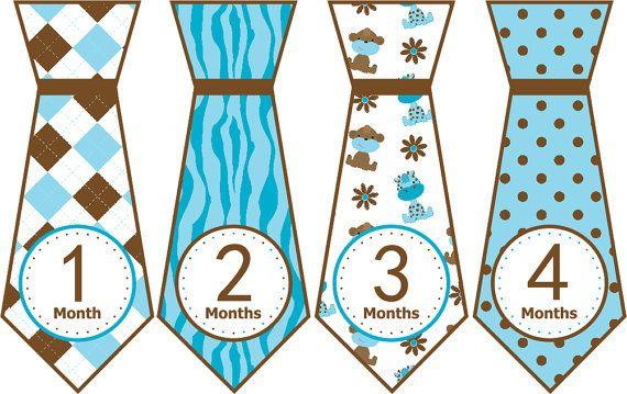 Precut Tie Month Stickers Monthly Tie by LittleLillyBugDesign, $9.00