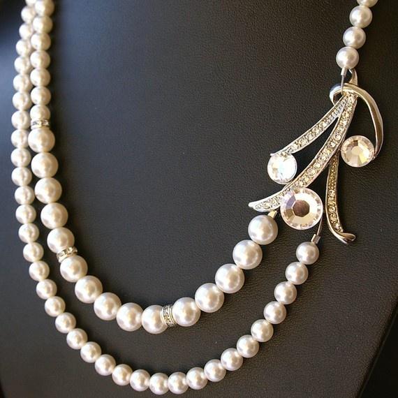 Dita Rhinestone and Swarovski Pearl Bridal Necklace by