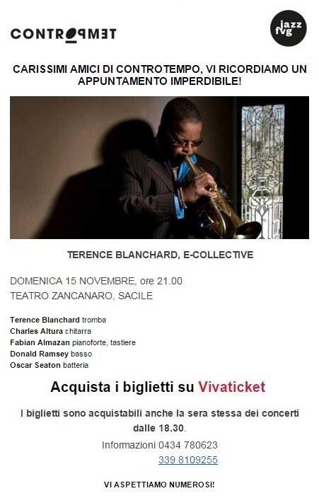 #Reminder per gli amici jazzofili: questa sera, al Teatro Zancanaro di #Sacile concerto di #TerenceBlanchard con il suo quintetto #ECollective per @IlVoloDelJazz Blanchard è un ottimo trombettista e compositore di colonne sonore (ne ha scritte moltissime ma ne cito una, di un film che amo: #La25Ora di #SpikeLee). A Sacile presenta un progetto che riunisce in un unico collettore la fusion, il funk groove, il #jazz e il blues. Un po' Gil Scott Heron un po' The Jazz Messengers! :)