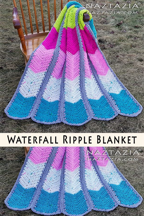 Free crochet pattern: Waterfall Ripple Blanket with video tutorial by Naztazia | Chevron Mile a Minute Afghan by Donna Wolfe from Naztazia