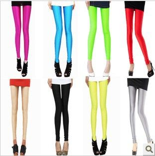 Free shipping, women's tights elasticity neon pants trousers candy fluorescent colors leggings sexy fitness stockings WTP0065 $5.99
