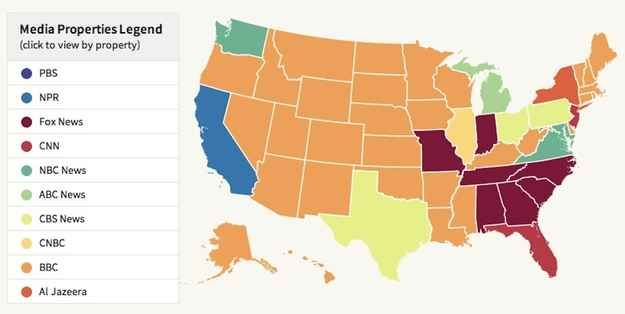 Maps of the Most Popular News Outlets for Each State | TV and radio