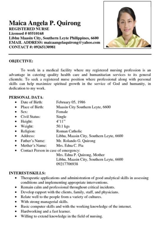 Sample Resume Registered Nurse Philippines -   resumesdesign