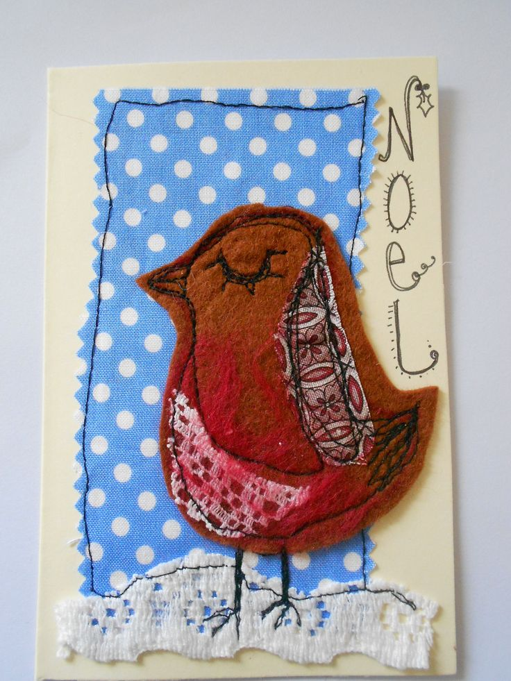 With a daughter named Robin, how could I resist 'Eyelashes Robin' mixed media textile Christmas card? She's adorable.