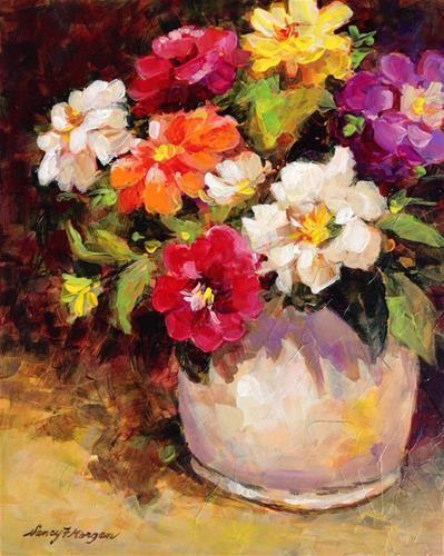 "Daily Paintworks - ""Zinnia Zest"" - Original Fine Art for Sale - © Nancy F. Morgan"