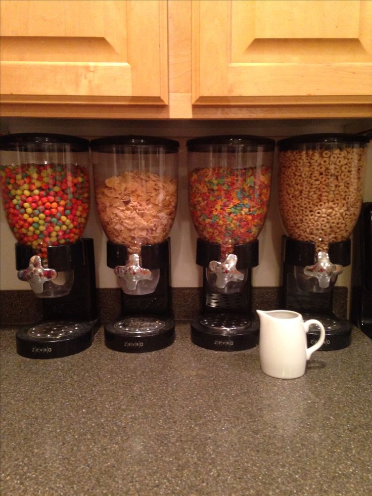 Cereal dispensers, plus a small pitcher of milk in the fridge make breakfast in the mornings really easy! :-)