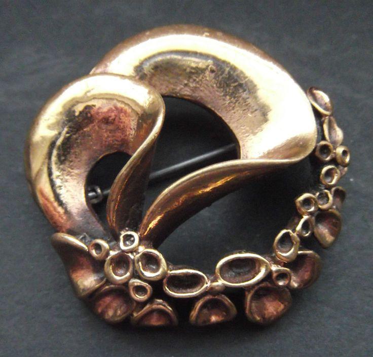 Mid-century schöne BROSCHE Hannu Ikonen Finnland Bronze MODERNIST brooch spilla