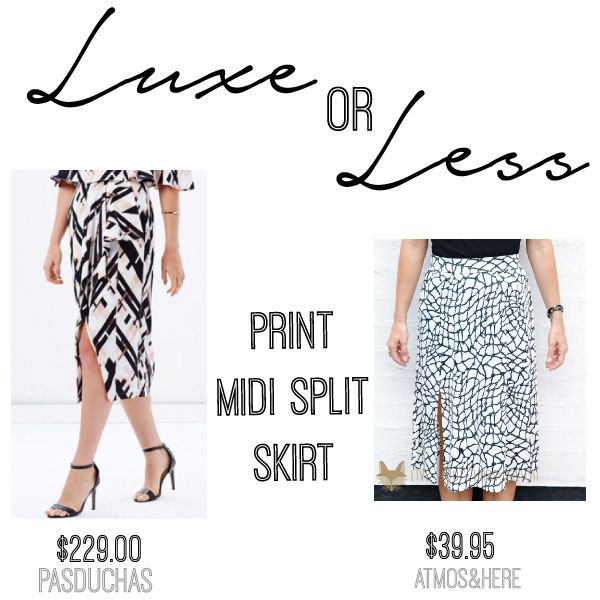 LUXE: Nouveau Skirt by Pasduchas $229.00 on THE ICONIC // LESS: Iris Jersey Skirt by Atmos & Here $39.95 on THE ICONIC