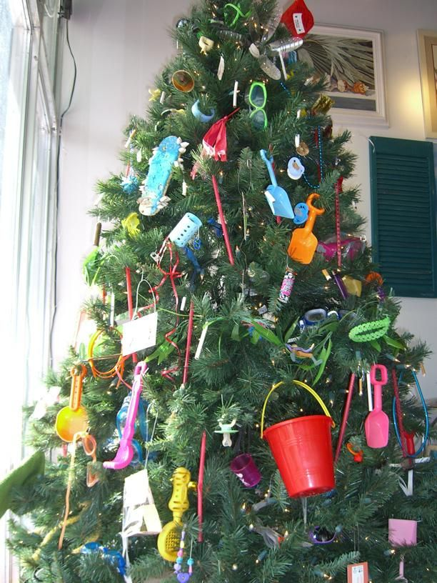 Christmas Tree decorated with beach cleanup LITTER