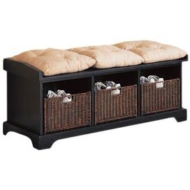 Black storage bench with three baskets and tufted cushions.Product: Storage bench, 3 pillows and 3 basketsConstruction Material: WoodColor: Black, cream and brownFeatures: 3 CompartmentsDimensions: 20 H x 50 W x 16.75 D (bench)