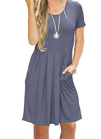 0a665067b427 AUSELILY Women's Short Sleeve Pockets Pleated Loose Swing T-Shirt Dress  Purple Gray M #dresses #clothing #women