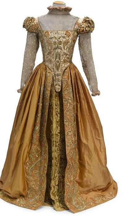 """Gwyneth Paltrow """"Viola"""" orange silk gown with gold embroidery from Shakespeare in Love"""