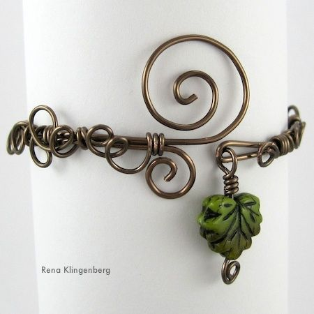 DIY Free Tutorial - Leaf & Vine Filigree Wire Bracelet by Rena Klingenberg