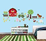 """#ad Farm Animal Stickers, Farm Decals with Tractor, Cow, Pig, and Barn  Our decals are peel and stick. ALL items on this listing are printed on a coated, durable fabric material that is repositionable. Coated fabric looks similar to vinyl ... it is not soft and fuzzy like felt. The difference between fabric and vinyl is that fabric will not stretch and is difficult to tear; whereas, vinyl will stretch and tear easily making it non-repositionable. You can see a video on """"Fabric vs. Vi.."""