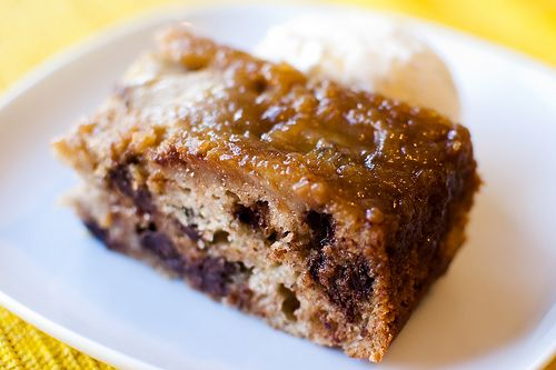 banana and chocolate upside down cake | Recipes: Cake | Pinterest