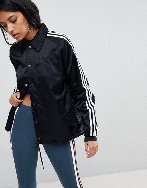 8f03f30b3473 adidas Originals Three Stripe Windbreaker Jacket In Black